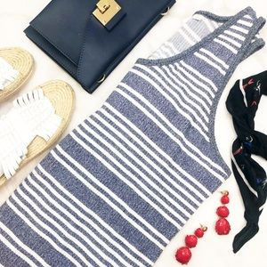Gap Blue & White Striped Ribbed Midi Tank Dress